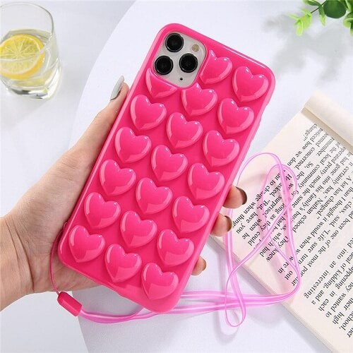 3D Love Heart Phone Case With Lanyard for iPhone