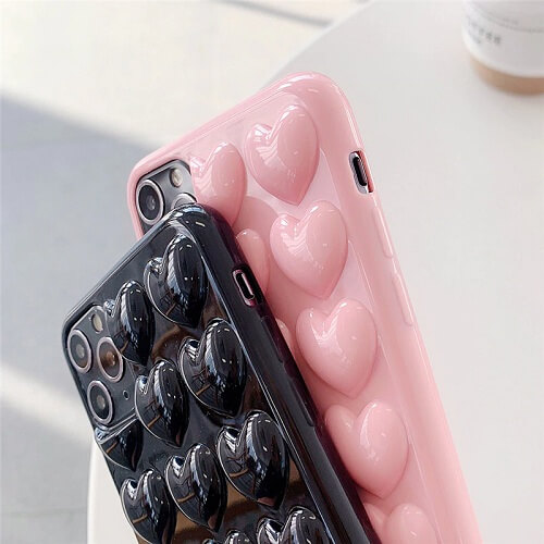 3D Love Heart Phone Case With Lanyard for iPhone Xs Max X XR