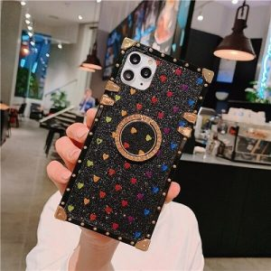 Black Square Glitter Colorful Hearts iPhone Case With Ring