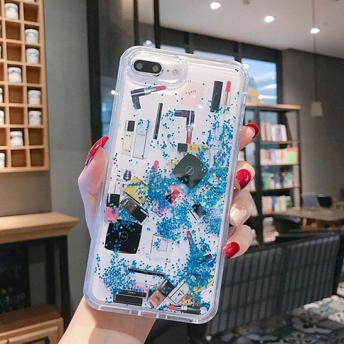 Blue Lipstick & Perfume Glitter Phone Case