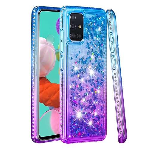 Blue Purple Waterfall Liquid Glitter Diamond Phone Case for Samsung Galaxy NOTE 9