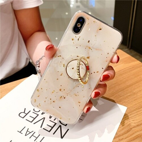 Beige Gold Foil Marble Phone Case With Ring for iPhone Xs Max