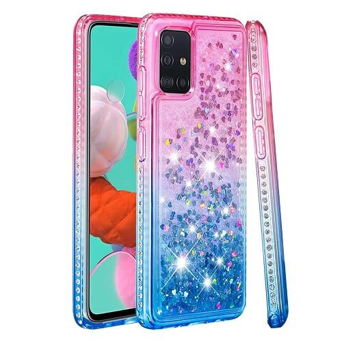 Pink Blue Waterfall Liquid Glitter Diamond Phone Case for Samsung Galaxy S10 Plus