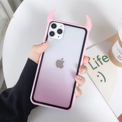 Pink Gradient Rainbow Devil Horn Phone Case