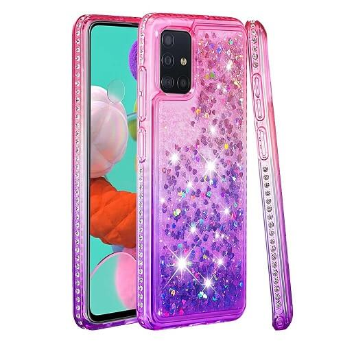 Pink Purple Waterfall Liquid Glitter Diamond Phone Case for samsung S20 Plus Pro