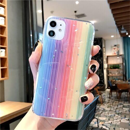Rainbow Glitter Stars Phone Case for iPhone X XR Xs Max 11 Pro
