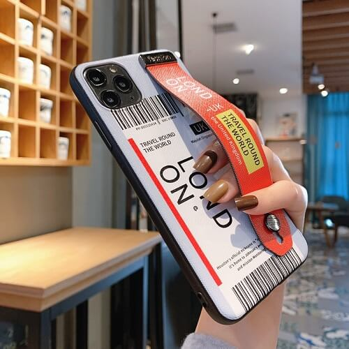Travel london Airline Ticket Phone Case With Wrist Strap