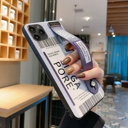 Travel singapore Airline Ticket Phone Case With Wrist Strap