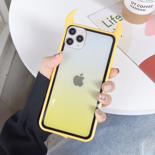 Yellow Gradient Rainbow Devil Horn iPhone Case
