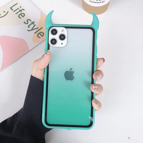 green Gradient Rainbow Devil Horn Phone Case
