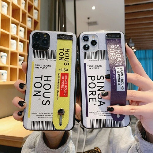 travel Airline Ticket Phone Case With Wrist Strap for iPhone