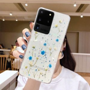 Blue dried flower phone case for samsung galaxy S20 Plus