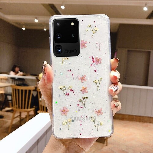Pink dried flower phone case for samsung galaxy S10 Plus