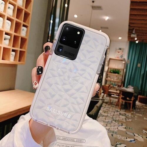 White Shockproof Diamond phone Case - Samsung Galaxy S20 Plus Ultra