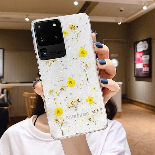 yellow dried flower phone case for samsung galaxy S8 S9 Plus