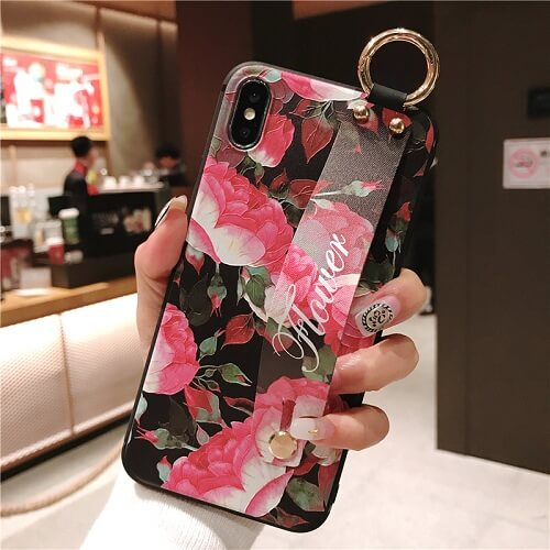 3D Flower Phone Case With Hand Strap For iPhone X