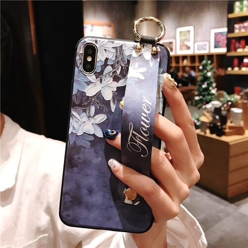 3D Flower Phone Case With Hand Strap For iPhone Xs Max