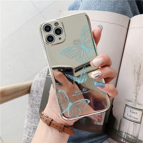 BLUE Mirror Butterfly Lens Protection Phone Case