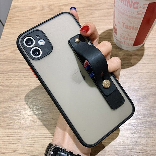 Black Candy Color Shockproof Phone Case with strap