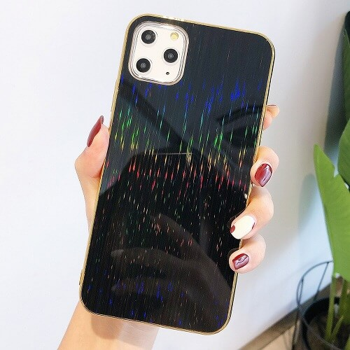 Black Glossy Holographic Phone Case For iPhone