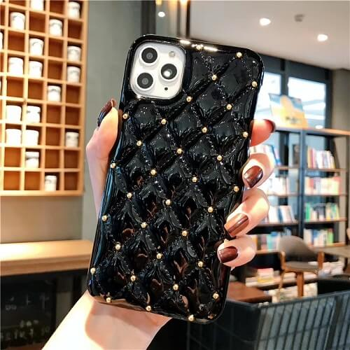 Black Quilted Jewel Phone Case For iPhone