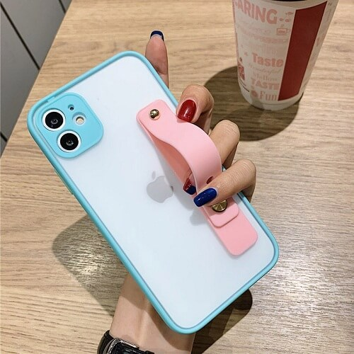 Blue Candy Color Shockproof iPhone Case with strap