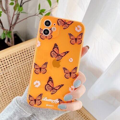 Butterfly Orange Chrysanthemum Flowers Phone Case