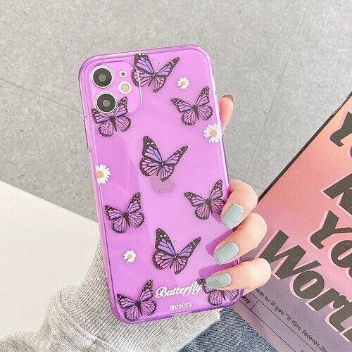 Butterfly Purple Chrysanthemum Flowers Phone Case