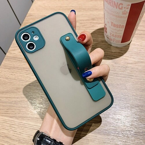 Dark Green Candy Color Shockproof Phone Case with strap