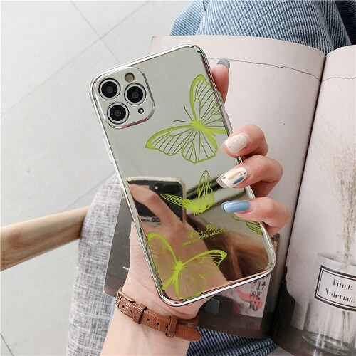 GREEN Mirror Butterfly Lens Protection Phone Case