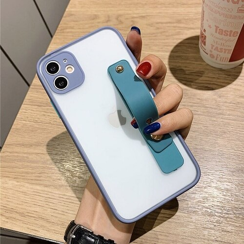 Gray Candy Color Shockproof iPhone Case with strap