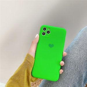 Green Neon Fluorescent Heart Phone Case For iPhone