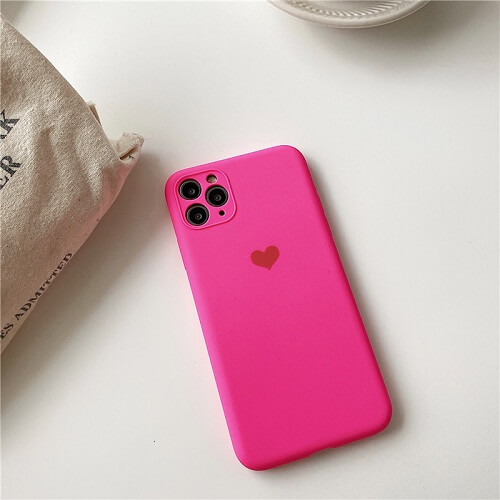 Hot Pink Neon Fluorescent Heart iPhone Case