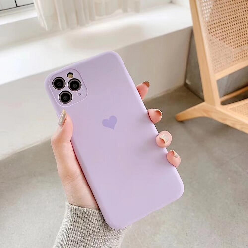 Light Purple Neon Fluorescent Heart Phone Case For iPhone
