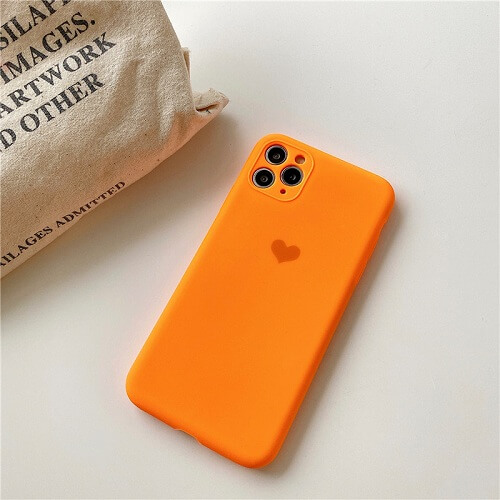 Neon Orange Neon Fluorescent Heart Phone Case For iPhone