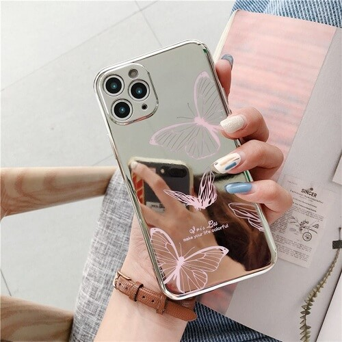PINK Mirror Butterfly Lens Protection Phone Case