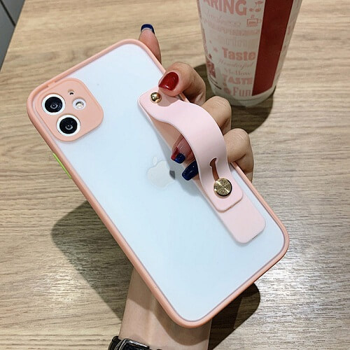 Pink Candy Color Shockproof iPhone Case with strap