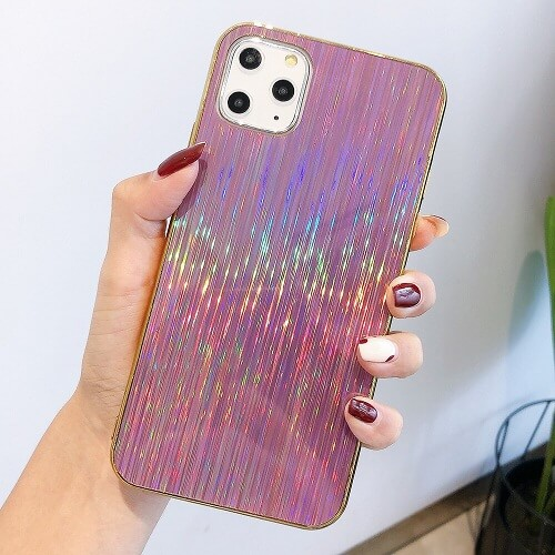 Pink Glossy Holographic Phone Case For iPhone