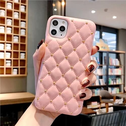 Pink Quilted Jewel Phone Case For iPhone