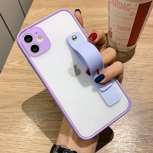 Purple Candy Color Shockproof iPhone Case with strap