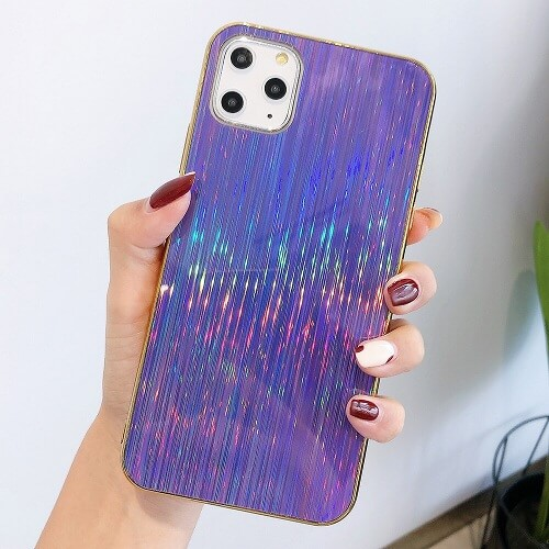 Purple Glossy Holographic Phone Case For iPhone