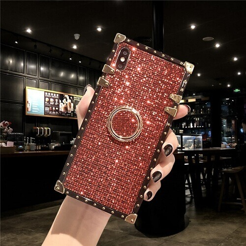 Red Premium Bling Square Phone Case For iPhone