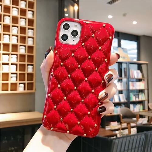 Red Quilted Jewel Phone Case For iPhone