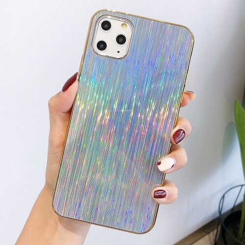 Silver Glossy Holographic Phone Case For iPhone