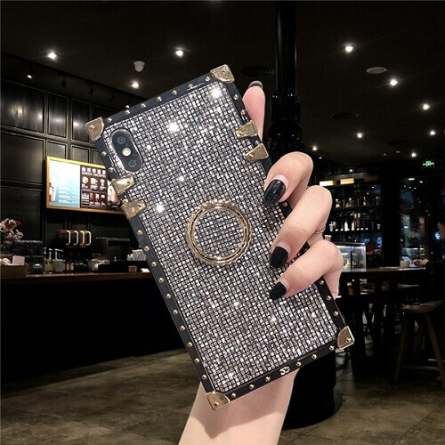 Silver Premium Bling Square Phone Case For iPhone