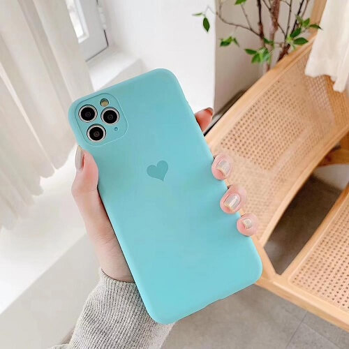 Sky Blue Neon Fluorescent Heart Phone Case For iPhone