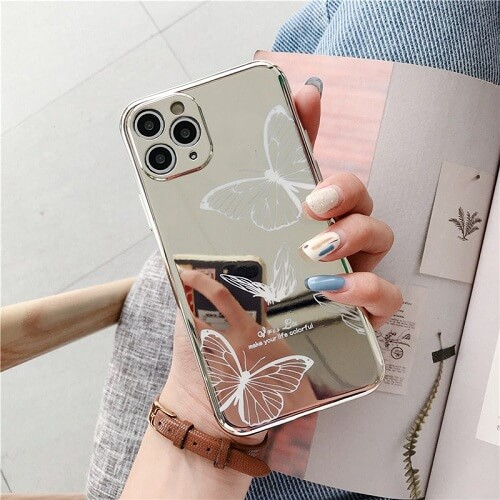 WHITE Mirror Butterfly Lens Protection Phone Case