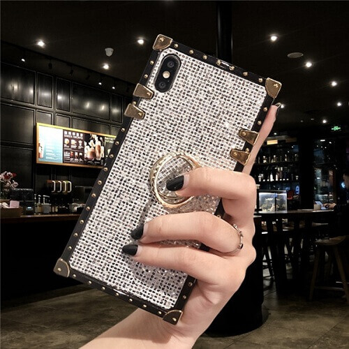 White Premium Bling Square Phone Case For iPhone