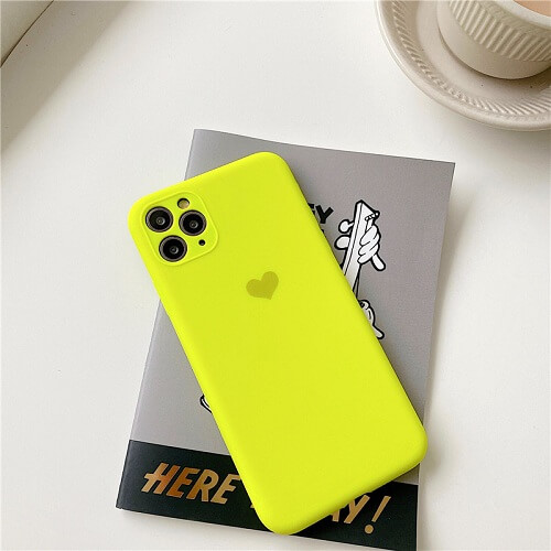 Yellow Neon Fluorescent Heart Phone Case For iPhone
