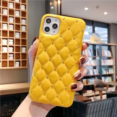 Yellow Quilted Jewel Phone Case For iPhone